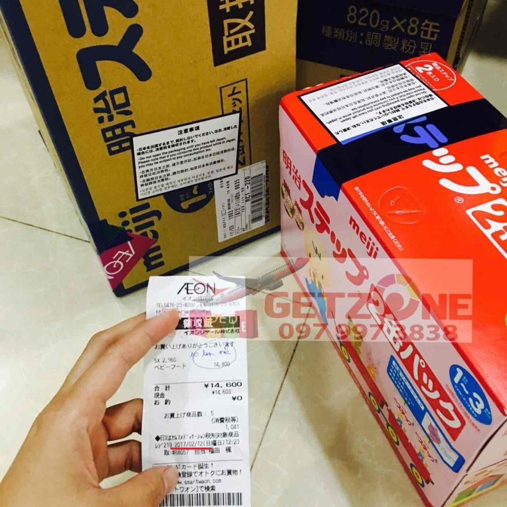 Hóa đơn mua hàng tại Nhật của sữa bột Meiji số 1-3