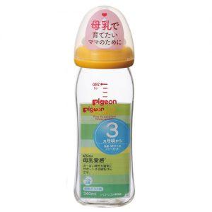 Bình sữa thủy tinh Pigeon cổ rộng nội địa Nhật 240ml màu cam
