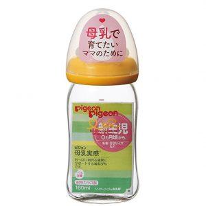 Bình sữa thủy tinh Pigeon cổ rộng 160ml hàng nội địa Nhật xách tay