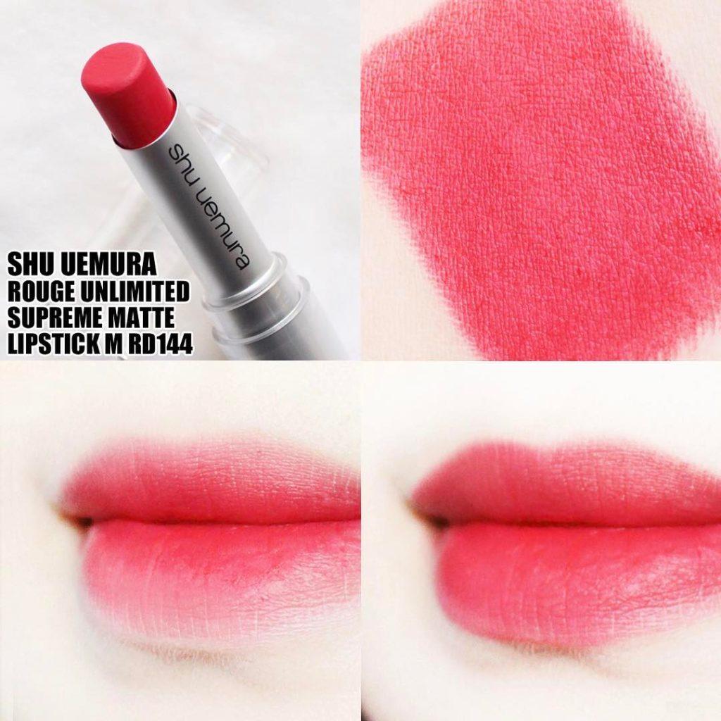 Son Shu Uemura Rouge Unlimited Supreme Matte MRD 144 màu đỏ cam